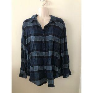 🌿 Super Comfy Vintage Blue Oversized Flannel